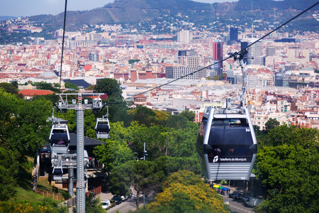 montjuic: BARCELONA, SPAIN - JUNE 21, 2014: Montjuic Cable Car in Barcelona, Spain. Teleferic de Montjuic connects Montjuic Castle and Montjuic funicular station