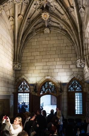 generalitat: BARCELONA, SPAIN - APRIL 23, 2016:  Gothic architecture gallery dated 15th century in palace Generalitat de Catalunya. Barcelona, Spain