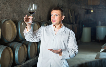 Friendly professional taster posing with glass of wine in winery cellar