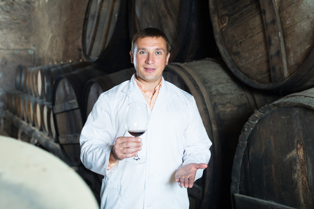 taster: Young taster posing with glass of wine in winery cellar Stock Photo