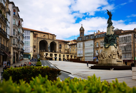 VITORIA, SPAIN - APRIL 21, 2016:  Day view of Virgen Blanca Square (Andre Maria Zuriaren plaza). Vitoria-Gasteiz