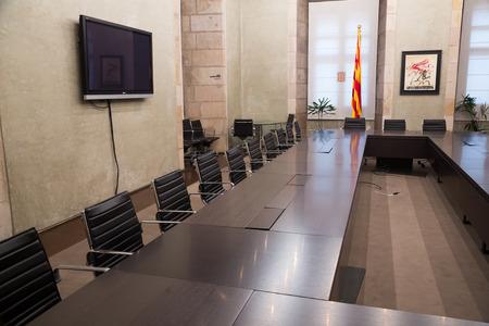 generalitat: BARCELONA, SPAIN - APRIL 23, 2016:  Interior of Antoni Tapies Hall   in palace Generalitat de Catalunya.  Barcelona, Spain