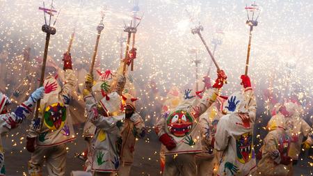 fiestas: BADALONA, SPAIN - MAY 10, 2014:  Fiestas de Mayo - show with fireworks  at Badalona during  night of Saint Anastasi