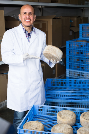 protective clothing: Mature man wearing protective clothing standing with freshly made cheers of cheese