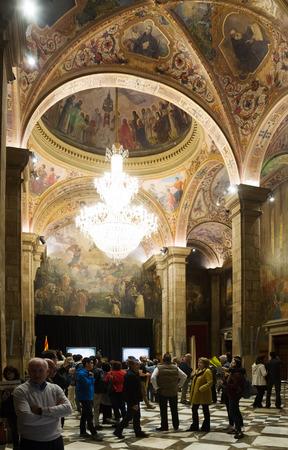 generalitat: BARCELONA, SPAIN - APRIL 23, 2016: Interior of St. George Hall (Salon de San Jorge) in palace Generalitat de Catalunya. Built in XVI-XVII century. Barcelona