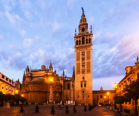 Morning view of  Giralda tower - was originally built as a minaret during the Moorish period. Seville