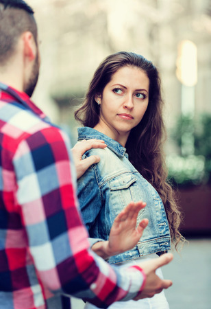accosting: man does not succeed in getting acquainted with girl