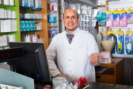 Male technician working in chemist shop  indoor Reklamní fotografie