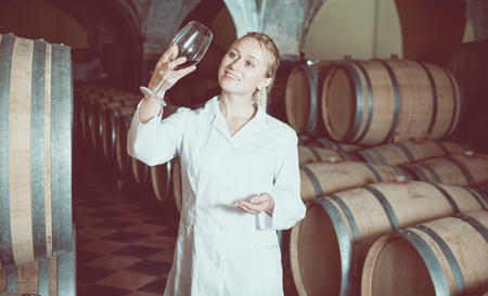 Portrait young female wine house worker checking quality of product in cellar Imagens