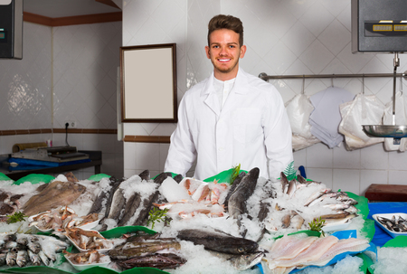 Young salesman with apron offering fresh fish in shop Imagens