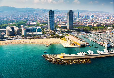 aerial view of docked yachts in Port. Barcelona, Spain Editorial