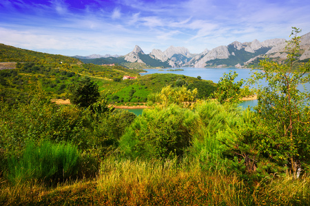 View of Riano reservoir in summer. Leon,  Spain