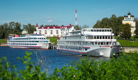uglich russia: View on two cruise liners waiting near town terminal in Uglich, Russia