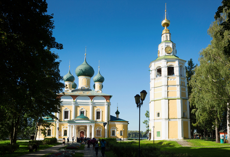 View on Transfiguration cathedral in Uglich Kremlin on Volga riverbank, Russia
