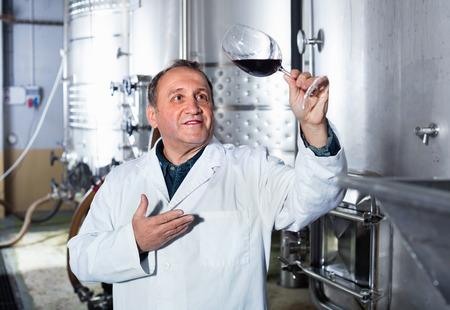 diligente: Diligente positiva controles fabricante de vinos de calidad de vino en la bodega