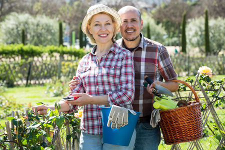 Positive senior couple looking after flowers in the garden on a sunny day