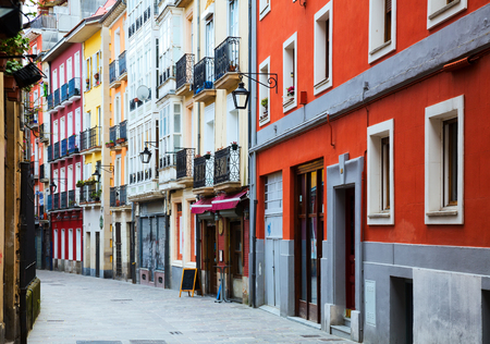 typical dwelling street in historic part of  Vitoria-Gasteiz.  Basque Country, Spain