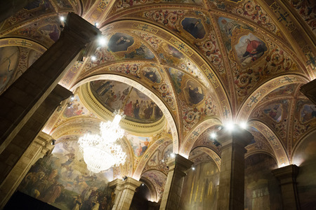 Interior of St. George Hall (Salon de San Jorge) in palace Generalitat de Catalunya. Built in XVI-XVII century. Barcelona