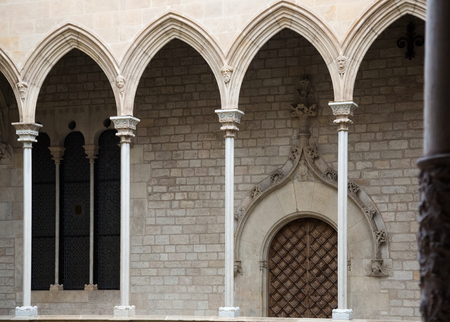 Gothic architecture gallery dated 15th century in palace Generalitat de Catalunya. Barcelona, Spain