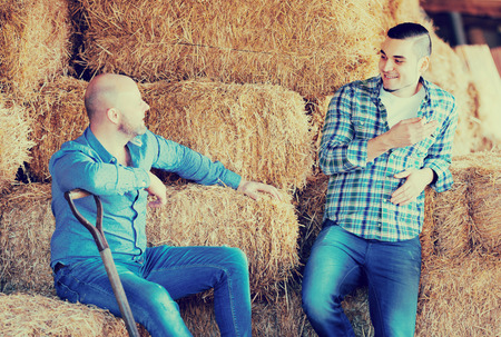 Portrait smiling farm workers tedding the hay at hayloft. Focus on the right man