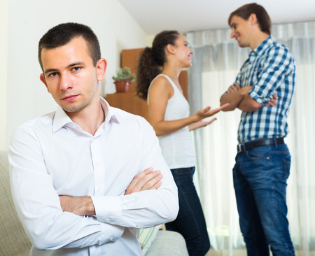 unrequited love: Unrequited love in home interior: girl prefers rival