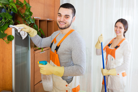 Cleaning premises young team is ready to work in room