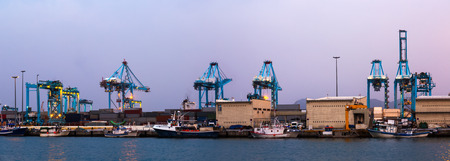 twilight view of  Port with cranes Stock Photo
