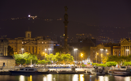 Port  with  Columbus statue  in  night time.  Spain