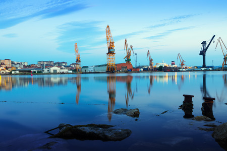 Morning panorama of Industrial seaport of antander Stock Photo