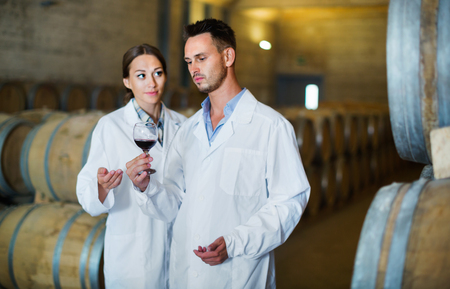 aging american: Portrait of young smiling diligent positive  man and woman wearing coats holding glass of wine in winery cellar