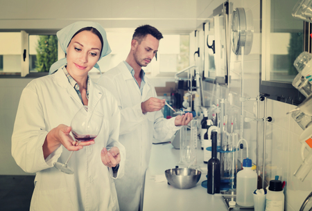 acidity: Two young efficient  researchers in white coat checking wine acidity and sugar saturation in chemical laboratory