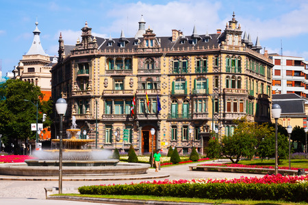 basque country: BILBAO, SPAIN - JULY 4, 2015: Chavarri Palace in summer.  Bilbao,  Basque Country, Spain