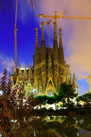 BARCELONA, SPAIN - SEPTEMBER 13, 2014: Sagrada Familia in evening Editorial