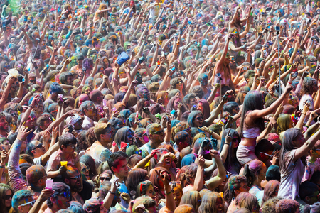 durty: BARCELONA, SPAIN - APRIL 12, 2015: Durty people during   Festival of colours Holi