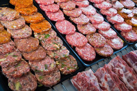 assort: counter with assort of burger, close up shot local focus
