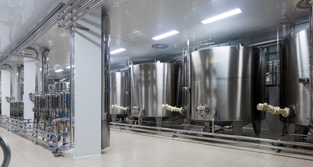 food plant: equipment of  winery factory with  stell barrels