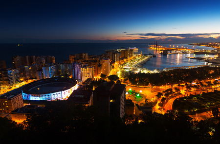 Night view of  Malaga with Port and Placa de Torros