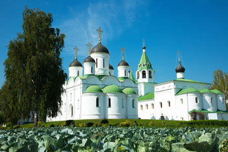 renovated: View on Transfiguration cathedral and Intercession church in Murom, Russia Stock Photo