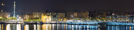 Panorama of Port Vell at Barcelona in night. Spain Editorial