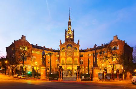 Facade of Hospital de Sant Pau in sunset time. Barcelona