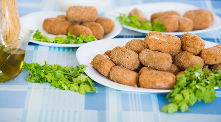 crocchette: Deep fried breadcrumbed kroketten served with herbs