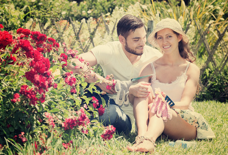 Young happy couple gardening together  in rose garden