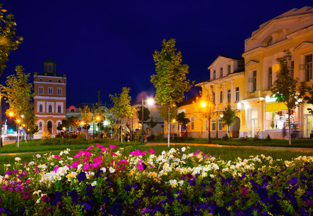 public housing: Murom city center with water tower and park by night