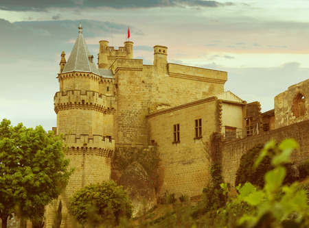 fib: Toned photo of old medieval castle. Olite, Navarre Editorial