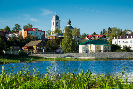 the volga river: provincial town Myshkin cityscape outstanding on waterfront of Volga river