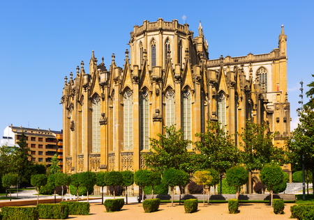 gasteiz: Day view of Cathedral of Mary Immaculate. Vitoria-Gasteiz, Spain Stock Photo
