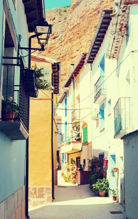 spanish village: Narrow street of spanish village.  Los Fayos, Aragon