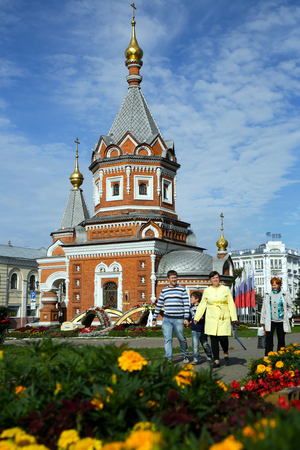 YAROSLAVL, RUSSIA - AUGUST 29, 2016: Beautiful Saint Alexander Nevsky Chapel at summertime in Yaroslavl, Russia