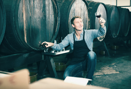 seller: happy seller man wearing apron suggesting to try glass of wine in wine cellar