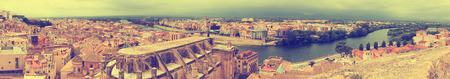 Panorama of  Tortosa with Cathedral from Suda castle. Catalonia, Spain